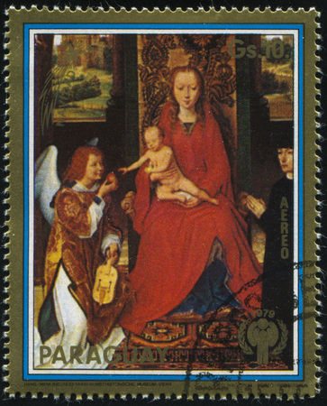 memling: RUSSIA KALININGRAD, 15 APRIL 2017: stamp printed by Paraguay, shows Painting  Madonna by Memling, circa 1979 Editorial