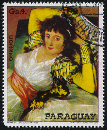 RUSSIA KALININGRAD, 15 APRIL 2017: stamp printed by Paraguay, shows Painting The Clothed Maja by Francisco de Goya, circa 1978