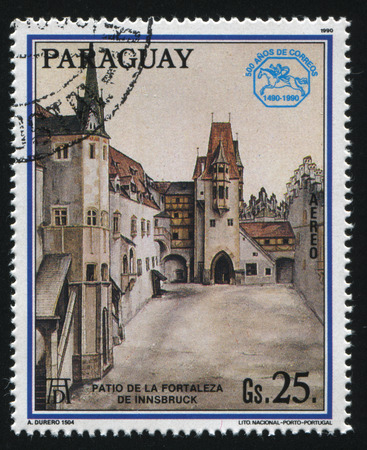european: RUSSIA KALININGRAD, 15 APRIL 2017: stamp printed by Paraguay, shows Painting Fortyard of Innsbruck by Albrecht Durer, circa 1990