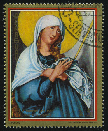 albrecht: RUSSIA KALININGRAD, 15 APRIL 2017: stamp printed by Paraguay, shows Painting Mate Dolorosa by Albrecht Durer, circa 1979