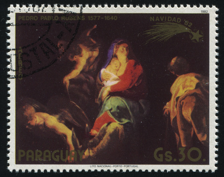 RUSSIA KALININGRAD, 15 APRIL 2017: stamp printed by Paraguay, shows Painting Flight to Egypt by Rubens, circa 1982