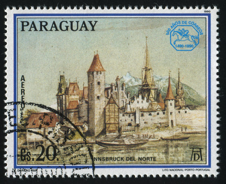 albrecht: RUSSIA KALININGRAD, 15 APRIL 2017: stamp printed by Paraguay, shows Painting North Innsbruck by Albrecht Durer, circa 1990 Editorial