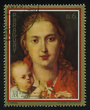 albrecht: RUSSIA KALININGRAD, 15 APRIL 2017: stamp printed by Paraguay, shows Painting Virgin with a Carnation by Albrecht Durer, circa 1979