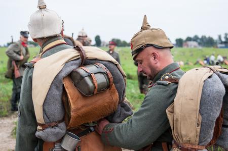 weaponry: KALININGRAD RUSSIA, 21 AUGUST 2016: Historical reenactment of the Battle of Gumbinnen, World War I, German soldier  Kaliningrad region, Russia. Editorial