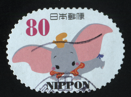 RUSSIA KALININGRAD, 22 APRIL 2016: stamp printed by Japan, shows elephant Dumbo, circa 2011