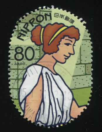 RUSSIA KALININGRAD, 22 APRIL 2016: stamp printed by Japan, shows a profile of a Greek woman, circa 2010 Editorial