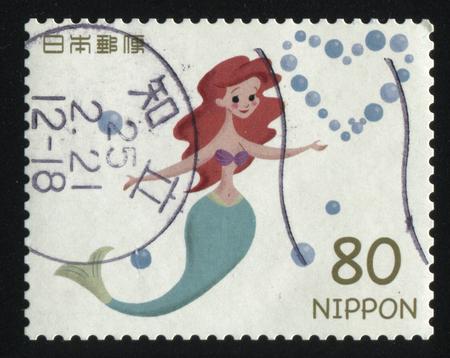 seamaid: RUSSIA KALININGRAD, 22 APRIL 2016: stamp printed by Japan, shows Little Mermaid, circa 2011 Editorial