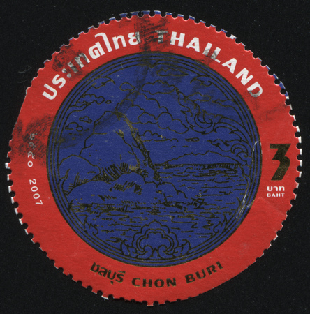 RUSSIA KALININGRAD, 4 JUNE 2016: stamp printed by Thailand, shows a blue mountain in the valley in the red circle(emblem of Chon Buri), circa 2008