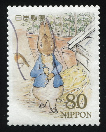 RUSSIA KALININGRAD, 22 APRIL 2016: stamp printed by Japan shows The Tale of Peter Rabbit, circa 2012 Redakční