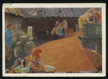 arkady: RUSSIA KALININGRAD, 18 MAY 2017: postcard printed by Russia shows Painting August by Arkady Plastov, circa 1958