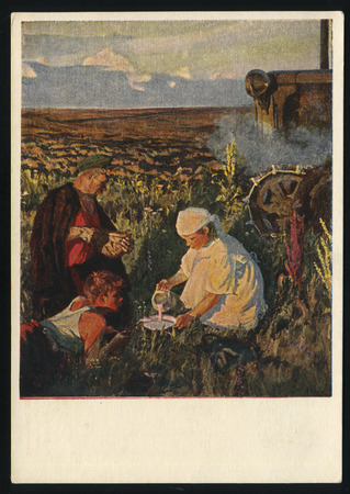 arkady: RUSSIA KALININGRAD, 18 MAY 2017: postcard printed by Russia shows Painting Tractor Drivers Supper by Arkady Plastov, circa 1953 Editorial