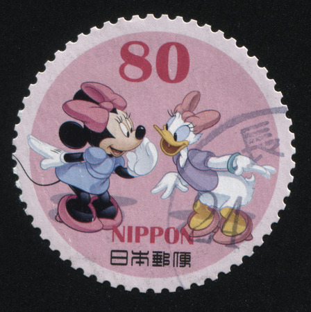 RUSSIA KALININGRAD, 22 APRIL 2016: stamp printed by Japan, shows Minnie Mouse and Daisy Duck, circa 2011