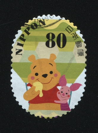 RUSSIA KALININGRAD, 22 APRIL 2016: stamp printed by Japan shows Winnie-the-Pooh, circa 2012