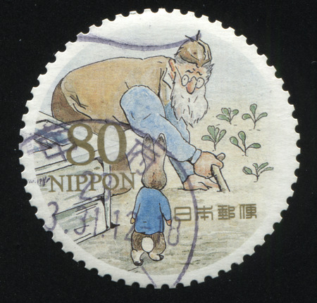 RUSSIA KALININGRAD, 22 APRIL 2016: stamp printed by Japan shows The Tale of Peter Rabbit, circa xxx