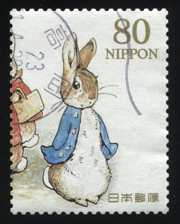 RUSSIA KALININGRAD, 22 APRIL 2016: stamp printed by Japan shows The Tale of Peter Rabbit, circa 2012 Editöryel