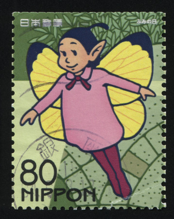 inocent: RUSSIA KALININGRAD, 22 APRIL 2016: stamp printed by Japan, shows a flying Japanese cartoon character, circa 2010 Editorial