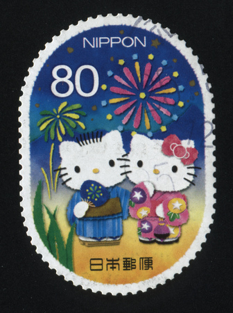 RUSSIA KALININGRAD, 22 APRIL 2016: stamp printed by Japan shows Hello Kitty fictional character, circa 2012