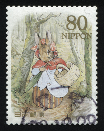 RUSSIA KALININGRAD, 22 APRIL 2016: stamp printed by Japan shows The Tale of Peter Rabbit, circa 2012 Editorial