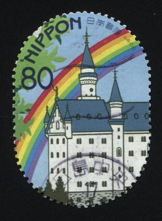 RUSSIA KALININGRAD, 22 APRIL 2016: stamp printed by Japan, shows ancient building and rainbow, circa 2011