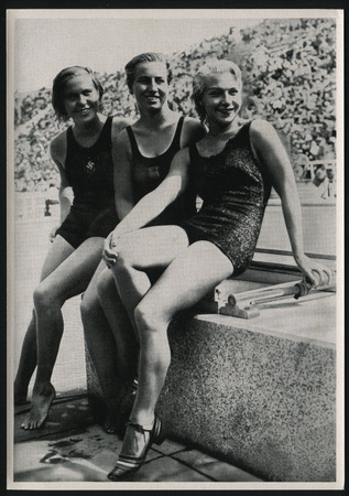 RUSSIA KALININGRAD, 8 DECEMBER 2016: postcard printed by Germany shows 1936 Summer Olympics Games Germany, circa 1936