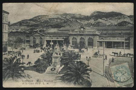 toulon: RUSSIA KALININGRAD, 17 NOVEMBER 2016: postcard printed by France shows vintage France postcard Toulon, circa 1910 Editorial