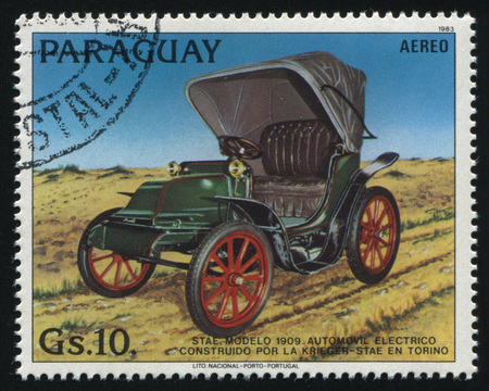 RUSSIA KALININGRAD, 22 APRIL 2017: stamp printed by Paraguay, shows retro car, circa 1983 Editorial