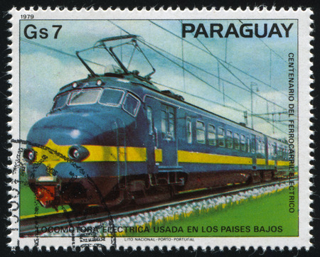 RUSSIA KALININGRAD, 22 APRIL 2017: stamp printed by Paraguay, shows locomotive, circa 1979