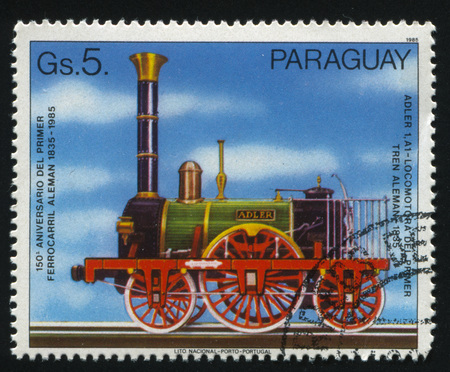 RUSSIA KALININGRAD, 22 APRIL 2017: stamp printed by Paraguay, shows locomotive, circa 1985