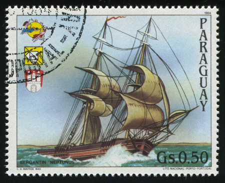 RUSSIA KALININGRAD, 22 APRIL 2017: stamp printed by Paraguay, shows sailboat, circa 1984 Editorial