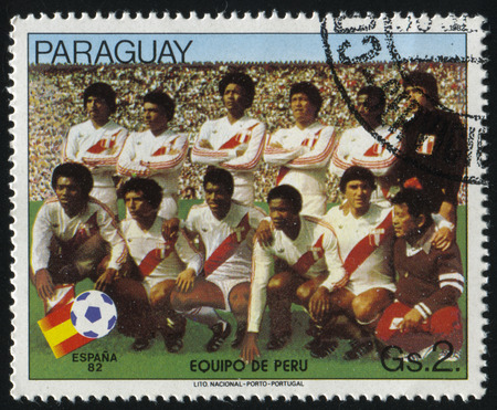 RUSSIA KALININGRAD, 19 APRIL 2017: stamp printed by Paraguay, shows football, circa 1982