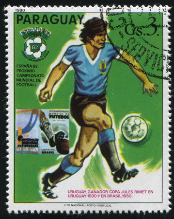 RUSSIA KALININGRAD, 19 APRIL 2017: stamp printed by Paraguay, shows football, circa 1980