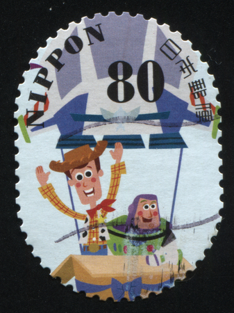 RUSSIA KALININGRAD, 22 APRIL 2016: stamp printed by Japan, shows Toy Story charachters, circa 2011