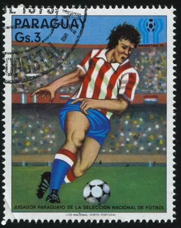 RUSSIA KALININGRAD, 19 APRIL 2017: stamp printed by Paraguay, shows football, circa 1978