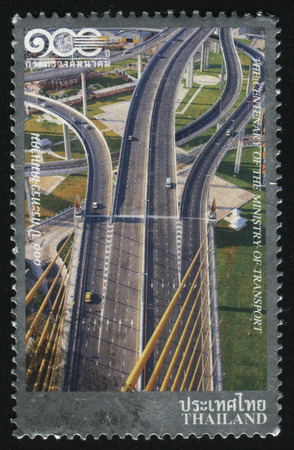 RUSSIA KALININGRAD, 2 JUNE 2016: stamp printed by Thailand, shows road system 2009 Editorial