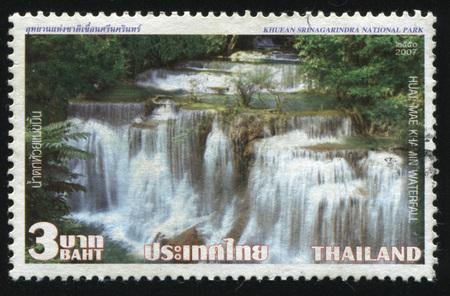 khamin: RUSSIA KALININGRAD, 2 JUNE 2016: stamp printed by Thailand, shows Huai Mae Khamin waterfall, 2007 Editorial