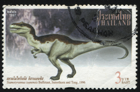 bipedal: RUSSIA KALININGRAD, 2 JUNE 2016: stamp printed by Thailand, shows Siamotyrannus isanensis (Buffetaut, Suteethorn and Tong), 1996 Editorial