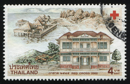 attic: RUSSIA KALININGRAD, 2 JUNE 2016: stamp printed by Thailand, shows Red Cross premises, 2002
