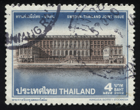 pilasters: RUSSIA KALININGRAD, 2 JUNE 2016: stamp printed by Thailand, shows The Royal Palace (Swedish: Kungliga Slottet) in Stockholm, 2002