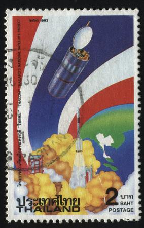 progressing: RUSSIA KALININGRAD, 2 JUNE 2016: stamp printed by Thailand, shows satellite, circa 1993