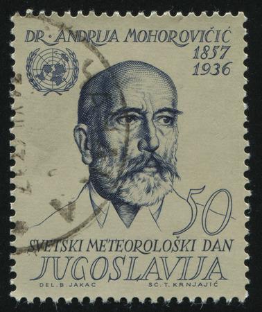 RUSSIA KALININGRAD,12 NOVEMBER 2016: stamp printed by Yugoslavia, shows the portrait of Dr Andrija Mohorovicic, circa 1963