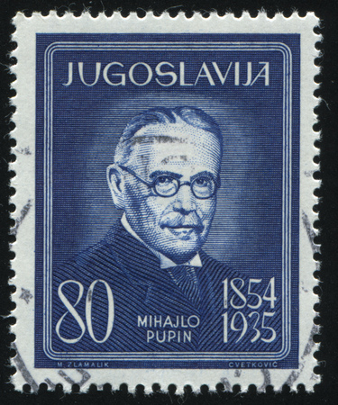 RUSSIA KALININGRAD, 12 NOVEMBER 2016: stamp printed by Yugoslavia, shows the portrait of Mihailo Pupin, electro-technician, circa 1960