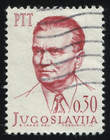 minister: RUSSIA KALININGRAD, 12 NOVEMBER 2016: stamp printed by Yugoslavia, shows Marshal Tito, circa 1966