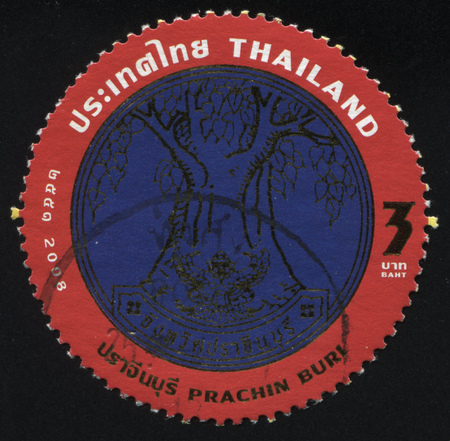 RUSSIA KALININGRAD, 4 JUNE 2016: stamp printed by Thailand, shows a big tree Bodhi (emblem of Prachin Buri), circa 2007