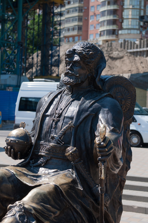 cossack: Sculpture of Russian Cossack. Rostov-on-Don. Stock Photo