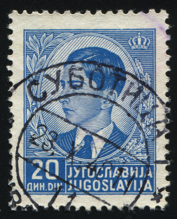 commander: RUSSIA KALININGRAD,12 NOVEMBER 2016: stamp printed by Yugoslavia, shows the portrait of King Peter II, circa 1939
