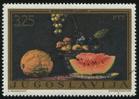 RUSSIA KALININGRAD, 12 NOVEMBER 2016: stamp printed by Yugoslavia, shows the painting Still life with melons by Konstantin Danil, circa 1972