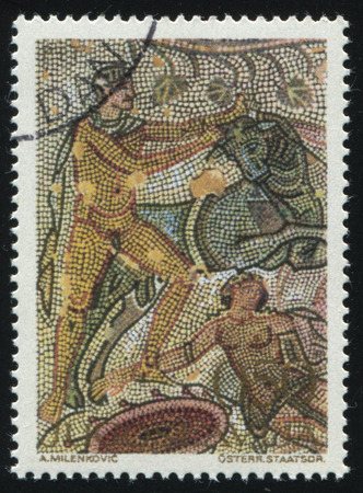 RUSSIA KALININGRAD, 12 NOVEMBER 2016: stamp printed by Yugoslavia, shows the mosaics, Punishment of Dirce, circa 1970