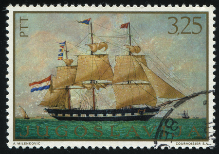 RUSSIA KALININGRAD, 12 NOVEMBER 2016: stamp printed by Yugoslavia, shows the ship Madre Mimbelli by Antoine Roux, circa 1969 Editorial