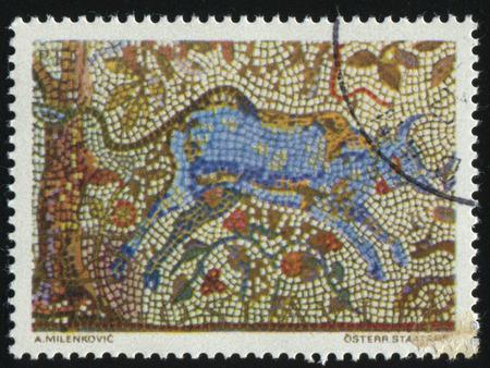 RUSLAND KALININGRAD, 12 NOVEMBER 2016: stempel gedrukt door Joegoslavië, toont de mozaïeken, Bull en Cherry Tree, circa 1970 Redactioneel
