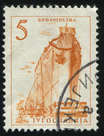RUSSIA KALININGRAD, 12 NOVEMBER 2016: stamp printed by Russia, shows shipbuilding, circa 1966
